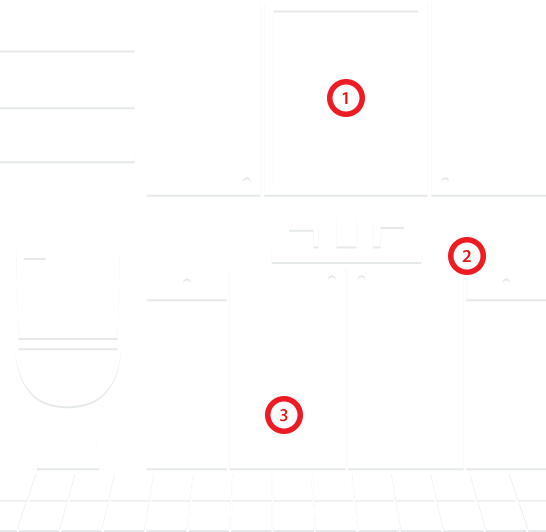 Bathroom design layout with numbering