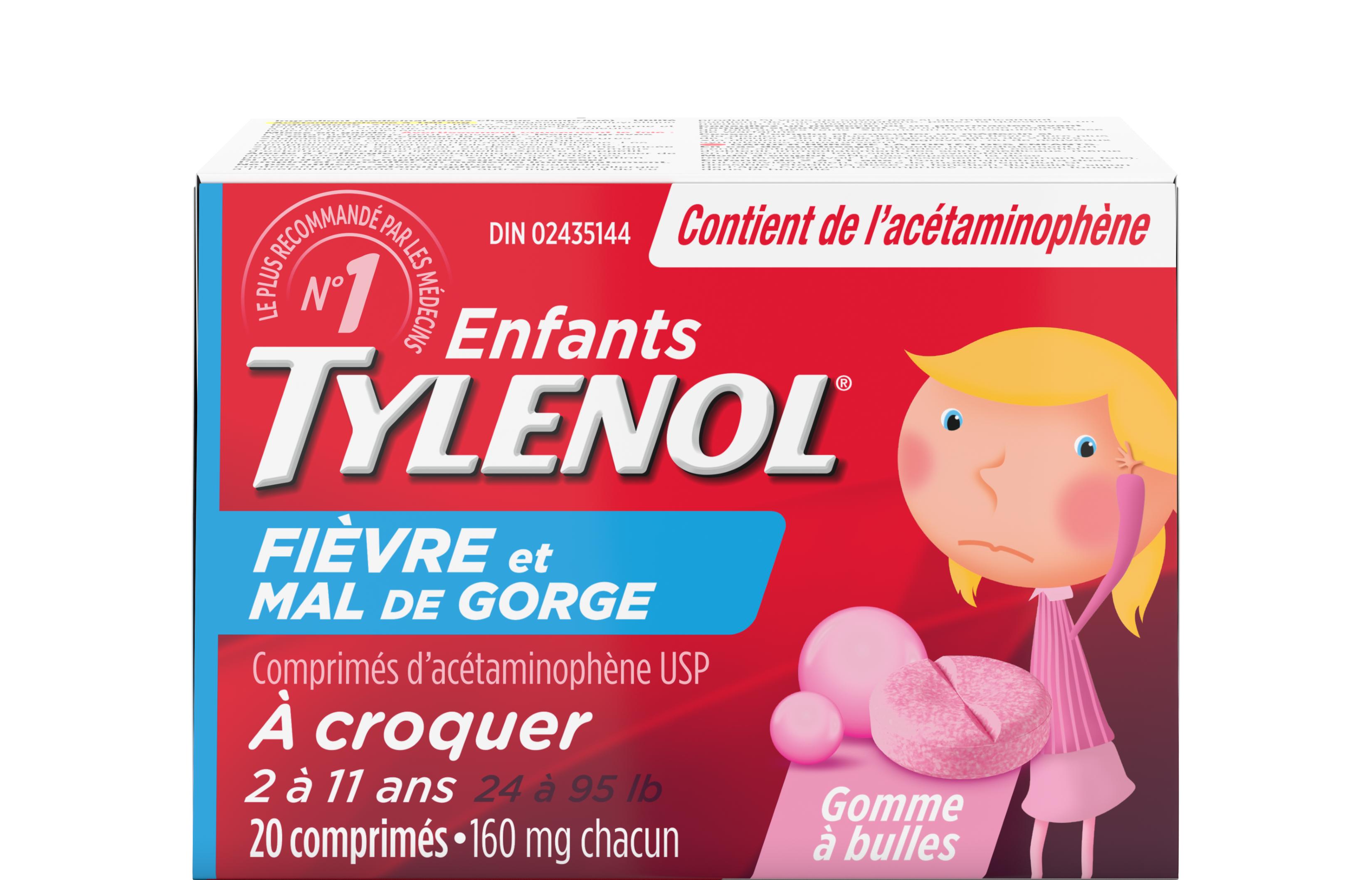 Tylenol pour enfants Fièvre et mal de gorge Comprimés à croquer à saveur de gomme à bulles