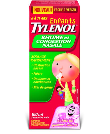 Enfants TYLENOL® Rhume et Congestion Nasale Éclats de gomme à bulles