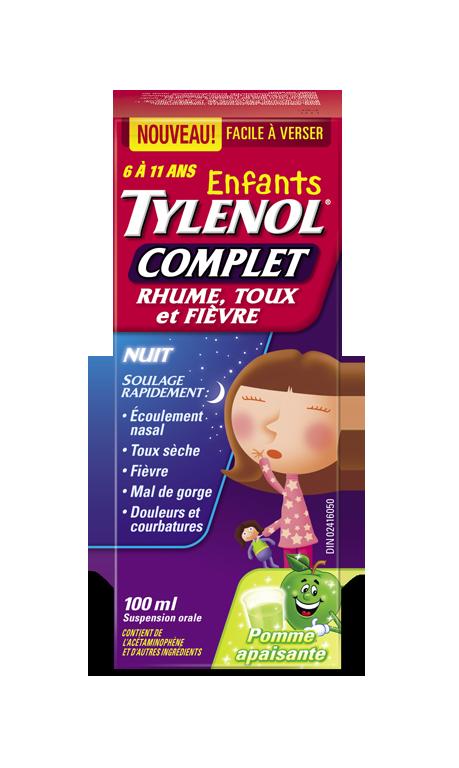 Enfants TYLENOL® Complet Rhume, Toux et Fièvre Pomme apaisante