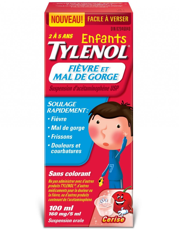 Enfants TYLENOL® Fièvre et Mal de Gorge Cerise