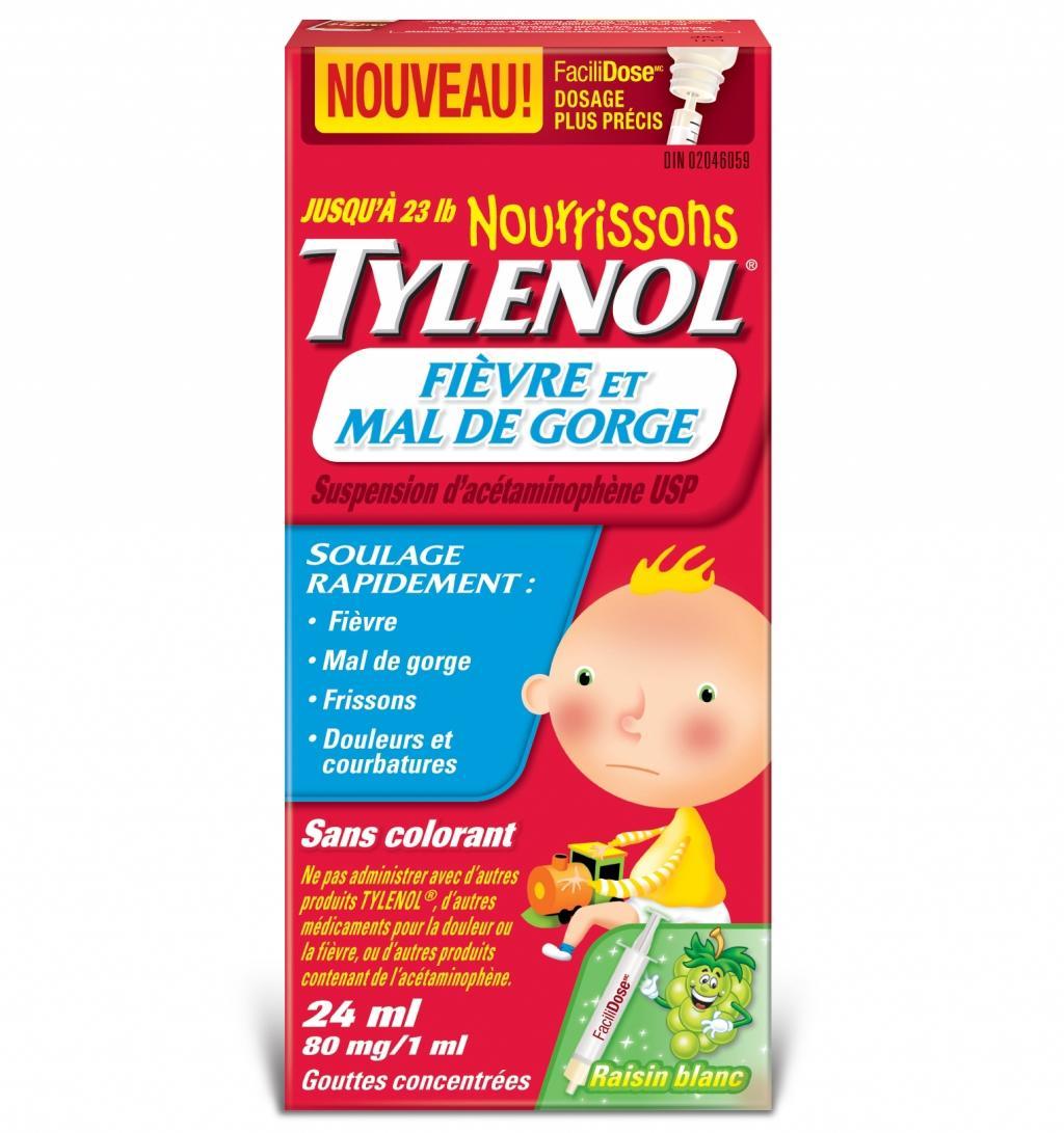 Nourrissons TYLENOL® Fièvre et Mal de Gorge Raisin blanc
