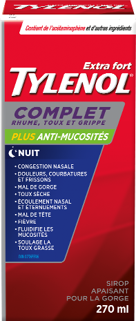 Extra Fort TYLENOL® Complet Rhume, Toux et Grippe Nuit Sirop