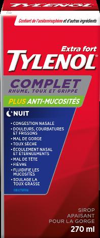 Sirop TYLENOL® Complet Rhume, toux et grippe Plus anti-mucosités, Nuit