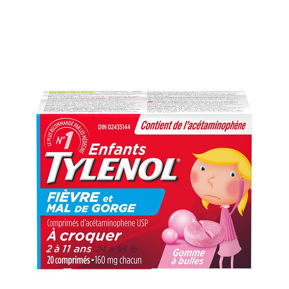 TYLENOL® Fièvre et mal de gorge, pour enfants, comprimés à croquer