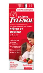 Suspension TYLENOL® Enfants, saveur de baies, sans colorant, 100 ml