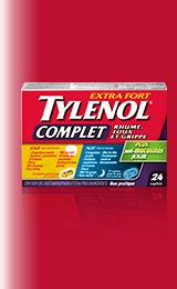 TYLENOL®Extra-fort Complet Rhume, toux et grippe, 12 caplets Jour, 12 caplets Nuit, total de 24 caplets